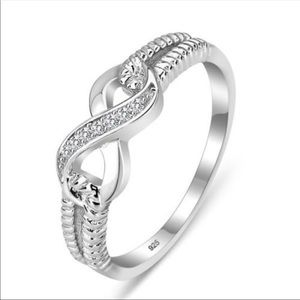 Infinity Sterling Silver Diamond Ring
